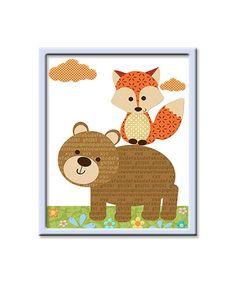 nursery bear decor | Bear Nursery Fox Nursery Baby Boy Nursery Decor by artbynataera