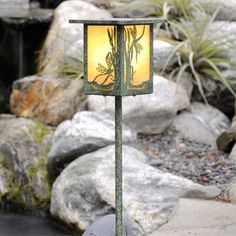 America's Finest Lighting Company Dragonfly 1 Light Pathway Light Shade Color: Autumn Green, Bulb Type: LED, Finish: Old Penny