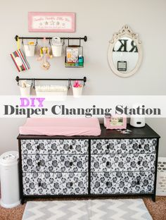 How to easily put together a central baby changing station with all baby needs nicely organized and at your fingertips.