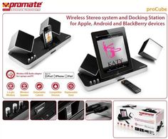 Promate proCube-Wireless Stereo system and Docking Station for Apple, Android and BlackBerry Devices, Retail Box , 1 Year Warranty Blackberry Devices, Dj Speakers, Retail Box, Docking Station, Good Music, 1 Year, Laptops, Computers, Nerd