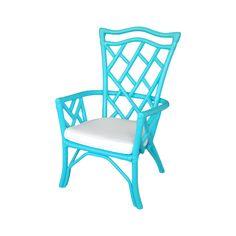 Vintage Rattan Turquoise Chair on Chairish.com
