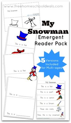 FREE My Snowman Emergent Reader Pack (includes 5 versions for multi-ages!)