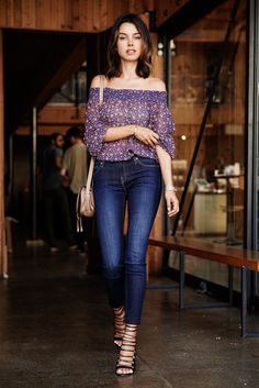 off shoulder blouse with jeans