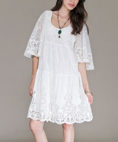 Look at this White Lace Peasant Dress on #zulily today!