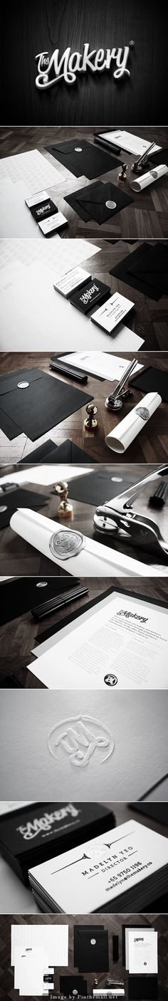 Modern corporate identity / stationary suite design for The Makery. Black & white and oh-so-stylish.