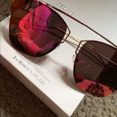 Trendy Mirror Sunglasses Mirrored sunglasses with a reddish, pink and gold hues.  I love these!!  They don't suit my face though.  My loss your gain.  Brand new Accessories Sunglasses
