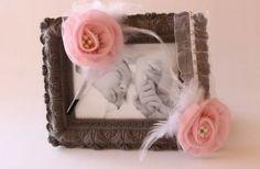 Pembe çiçekli,incili taç ve bebek bandı