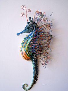Seahorse art sculpture wall hanging von artistJP auf Etsy, $55,00