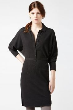 Lacoste Long Sleeve Supple Pique Button Front Polo Dress : Dresses