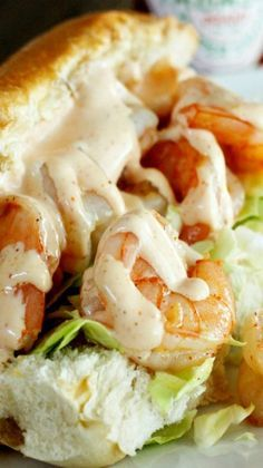 Shrimp Po Boys with Creamy Cajun Sauce _ This is my favorite Shrimp Po Boy recipe ever– I love that the shrimp is buttery & spicy! They are SO easy– & oh mama they are DELICIOUS! I love the spicy kick of the Creole seasoning & the smooth, creaminess of th Creole Recipes, Cajun Recipes, Shrimp Recipes, Fish Recipes, Cooking Recipes, Sauce Recipes, Shrimp Poboy Recipe, Cajun Mayo Recipe, Recipies