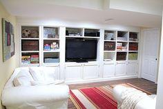 built ins House Tour – Basement TV Room Basement Tv Rooms, Basement Ideas, Basement Shelving, Walkout Basement, Tv Shelving, Basement Apartment, Playroom Ideas, Apartment Ideas, Basement Entertainment Center