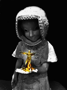 Gold Angel, taken at the Potteries Museum in Stoke-on-Trent and colour popped on the iphone