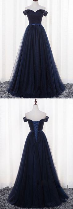 Cheap Prom Dresses A-line Floor-length Ruffles Dark Navy Prom Dress/Evening Dress JKL376 #annapromdress #prom #promdress #evening #eveningdress #dance #longdress #longpromdress #fashion #style #dress