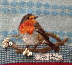 Lou Tonkin - Erithacus rubecula - needle felting on a reused sweater