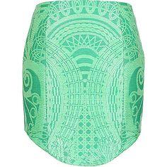 Balmain green raffia-effect short skirt ($2,075) ❤ liked on Polyvore