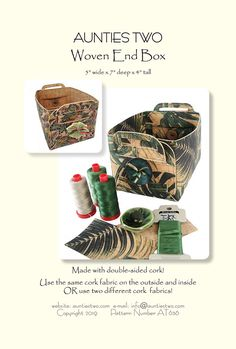 Woven End Box - Learn to make double-sided cork! Unique and decorative box 5 wide x 7 long x 4 tall Cork Fabric, Fabric Gifts, Box Patterns, Sewing Patterns, Textile News, Carpet Bag, Deep, Book Quilt, Book Crafts