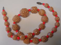 Vintage Unique Beige and Orange Molded Glass Graduated Beaded Choker Necklace by cherylsvintagebling. Explore more products on http://cherylsvintagebling.etsy.com