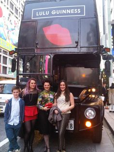 LULU Guinness arrives at the Uniqlo Ginza store in a specially created London Lulu Guinness bus!