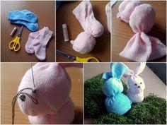 Ozdoby wielkanocne ręcznie robione - zajączek ze skarpetki niemowlęcej