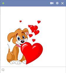 Emoticon puppy with hearts