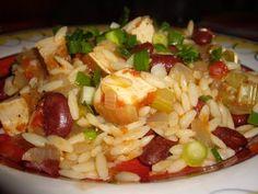 Vegan No-oil Tofu Jambalya with orzo from The McDougall Quick & Easy Cookbook, hungryvegan.blogspot. (GF/NF/CF/YF)