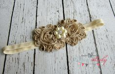 Cream & Tan Champagne Headband with Pearl by TheRogueBaby on Etsy.