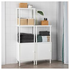 IKEA DYNAN shelving unit with 2 cabinets Perfect in a small bathroom. White Shelving Unit, Bathroom Shelving Unit, Modular Shelving, Open Shelving, Shelves, Ideas Habitaciones, Personal Storage, Simple Bathroom, Shelving