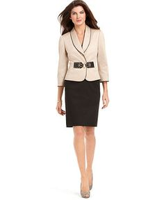 Tahari by ASL Suit, Three-Quarter-Sleeve Shawl-Collar Jacket & Skirt - Womens Suits & Suit Separates - Macy's