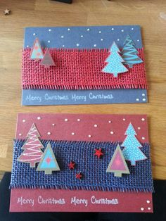 Christmas cards: you can easily make them from paper and fabric leftovers!