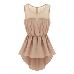 SheIn(sheinside) Apricot Sleeveless Back Zipper Bandeau High Low Dress (355 CZK) ❤ liked on Polyvore featuring dresses, tops, apricot, shift dress, short in front long in back dress, sleeveless shift dress, short sleeve cocktail dress and lace shift dress