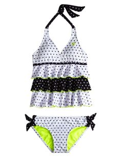00033ca6f5 Tiered Pin Dot Tankini Swimsuit | Girls Swimsuits Swimwear | Shop Justice  Cute Bikinis, Cute