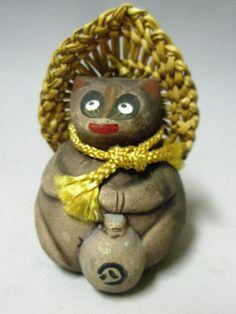 Japanese Good Luck Ceramic Bell / Japanese Raccoon