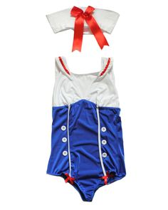 An alluring pin up sailor fancy dress costume.