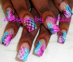 . Pink Nail Designs, Beautiful Nail Designs, Acrylic Nail Designs, Fabulous Nails, Gorgeous Nails, Pretty Nails, Glam Nails, Hot Nails, French Nails