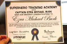 Bringing Home Ezra: Ezra and Libby's Superhero Party -free certificate template