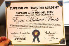 Bringing Home Ezra: Ezra and Libby's Superhero Party -free certificate template