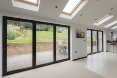 Image result for white bifold aluminium doors House Extension Plans, House Extension Design, Extension Designs, Roof Extension, House Design, Extension Ideas, Bifold Doors Onto Patio, Orangery Extension, Facade House