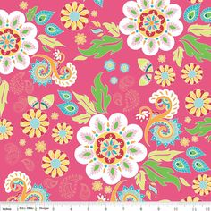 The Quilted Fish for Riley Blake - Madhuri - Floral Main in Pink - 1 yard - Cotton Fabric