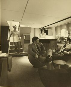 Downstairs lounge on the L-1011 | this lounge area is in the lower deck, an area normally reserved for freight