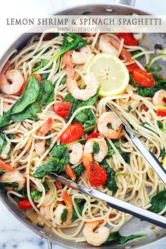 Lemon Shrimp and Spinach Spaghetti   www.diethood.com   A quick, one skillet pasta dinner with spaghetti and shrimp tossed in a spinach mixture with tomatoes, garlic, and lemon juice.