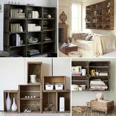 great ideas for wooden crates, love the ones above the slipcovered couch, good look for basement?