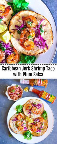 Caribbean Jerk Shrimp Taco with Plum Salsa: #shrimp #caribbean #jerk #taco #Ad #KingOfFlavor #FieldToBottle ..