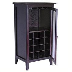 Winsome Espresso Wine Cabinet with Glass Door