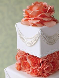 gold, cream, and coral wedding cakes - Google Search... perfect color of coral