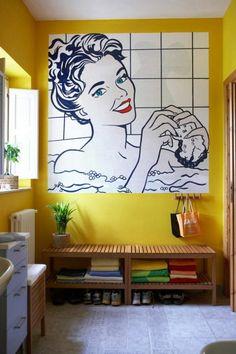 Badezimmer gelbe Wand Bild modern Pop