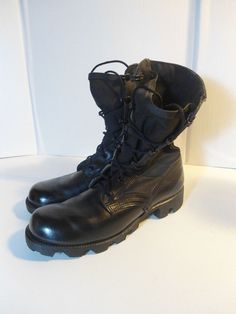 VINTAGE Men's Military Army Jungle Jump Boots Black Leather/Nylon- 5.5 R NICE! #ArmyIssue #Military