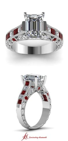 Droplet Ring || Emerald Cut Diamond Vintage Ring With Red Ruby In 14k White Gold