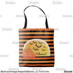 Black and Orange Striped Halloween Festive Trick or Treat Reuseable Bag