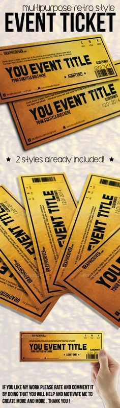 Buy Multipurpose Golden Event Ticket by Tzochko on GraphicRiver. Hello, this is multipurpose golden event TICKET template. Event Ticket Template, Print Templates, Design Templates, Information Graphics, Photoshop, Invitations, Graphic Design, Motivation, Create