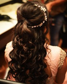 Engagement Hairstyle with Side Hair Ornament